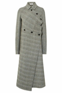 Jil Sander - Asymmetric Prince Of Wales Checked Wool-blend Coat - Gray