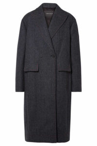 Cédric Charlier - Paneled Herringbone Wool And Cashmere-blend Coat - Navy
