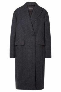 Cédric Charlier - Paneled Herringbone Wool And Cashmere-blend Coat - Navy