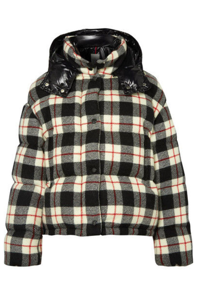 Moncler - Hooded Quilted Checked Wool And Shell Down Jacket - Black
