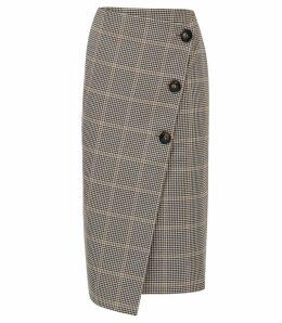 Reiss Jasmine - Wrap Front Skirt in Navy/rust, Womens, Size 14