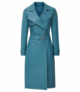 Reiss Roma - Leather Mac in Blue, Womens, Size 14