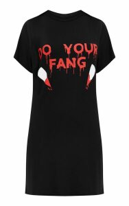 Black Jersey Do Your Fang T Shirt Dress, Black