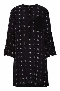 Karl Lagerfeld Printed Silk Dress with Bell Sleeves
