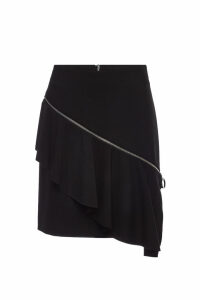 Hugo Rafela Ruffled Skirt with Asymmetric Zipper