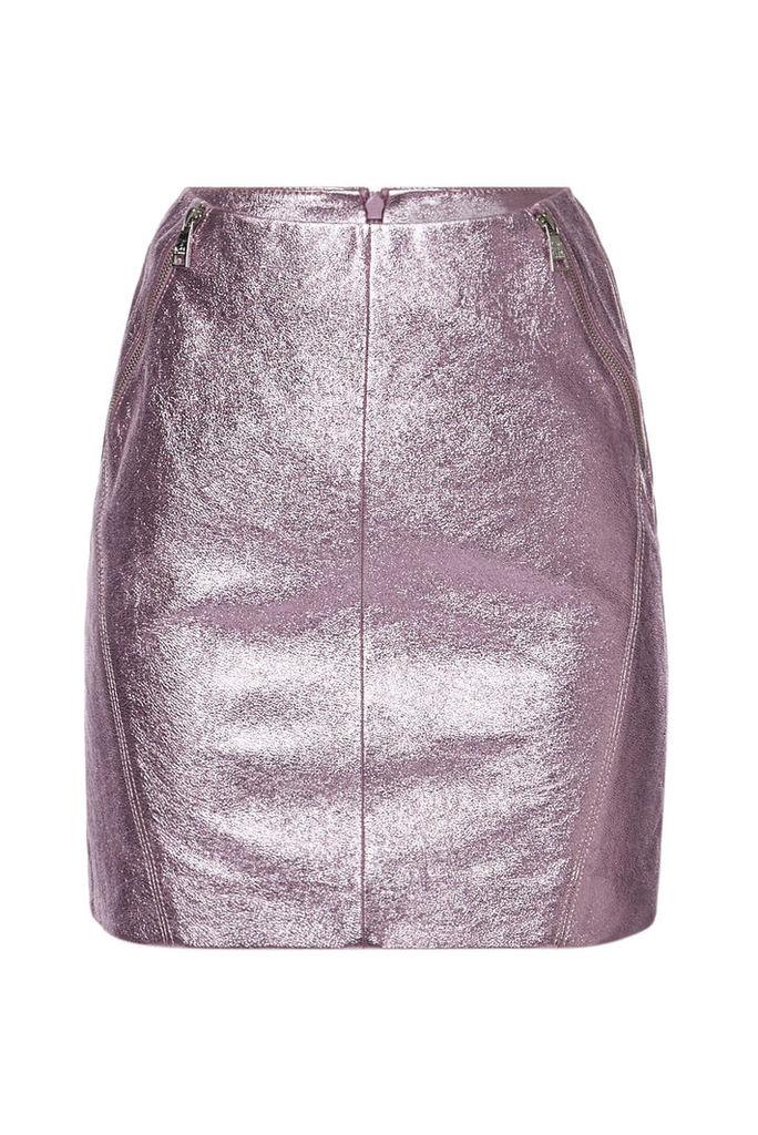 Karl X Kaia Gerber Karl x Kaia Gerber Metallic Leather Skirt