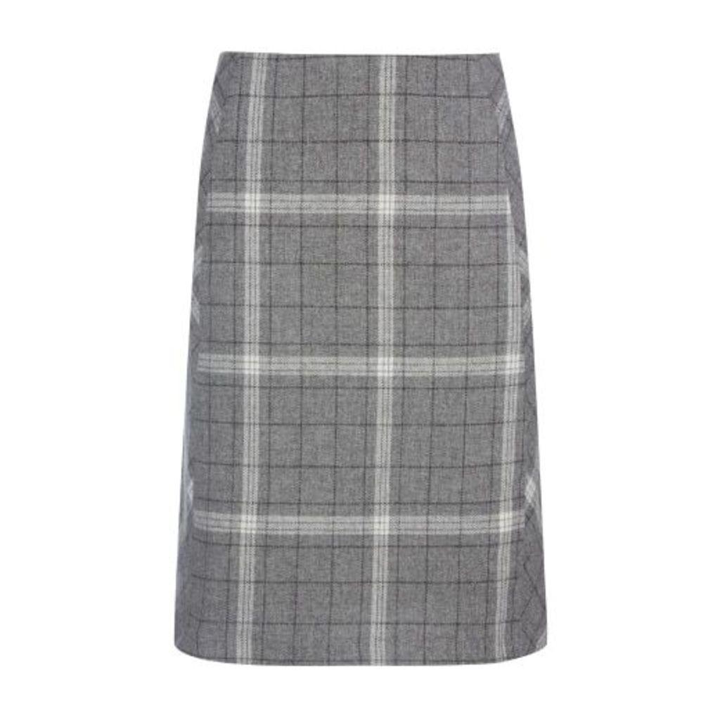 Grey Check A Line Skirt