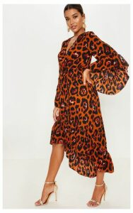 Rust Oversized Animal Print Ruffle Sleeve Wrap Midi Dress, Orange
