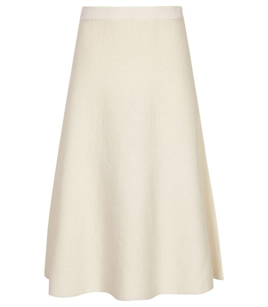 Reiss Amy - Fluted Hem Skirt in White, Womens, Size XXL