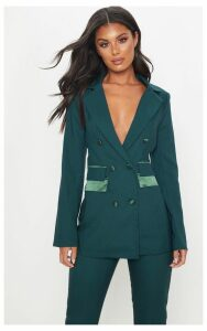 Dark Green Triple Breasted Oversized Woven Blazer, Dark Green