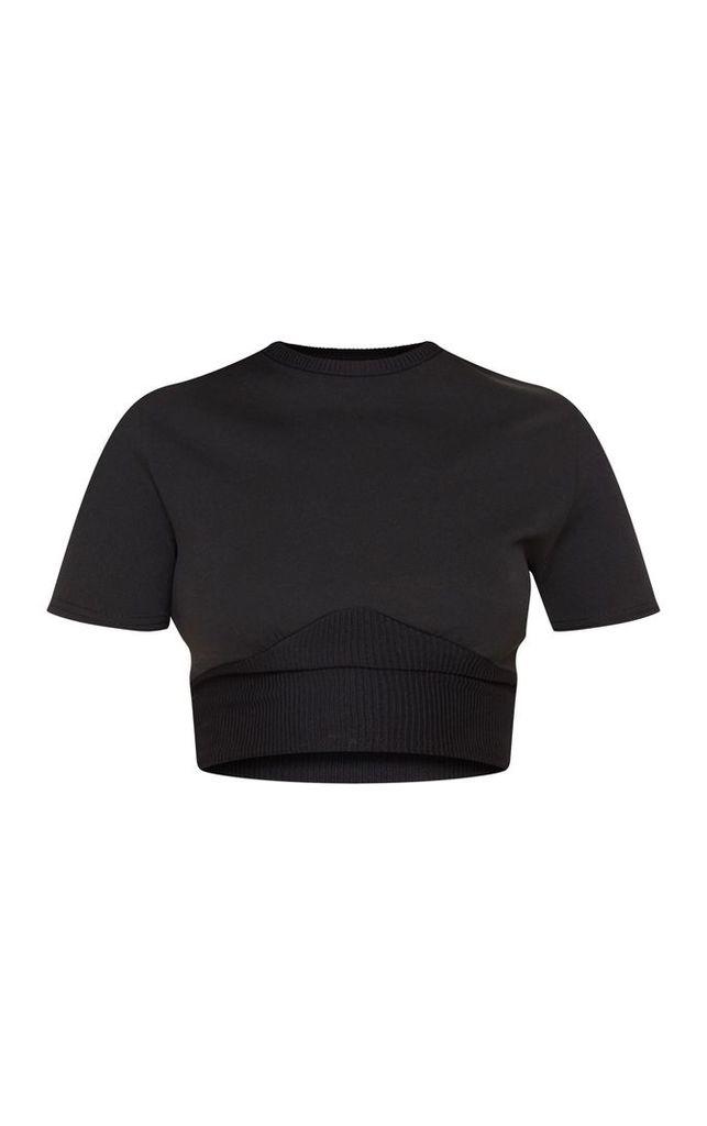 Black Contrast Rib Underboob Short Sleeve Crop Top, Black