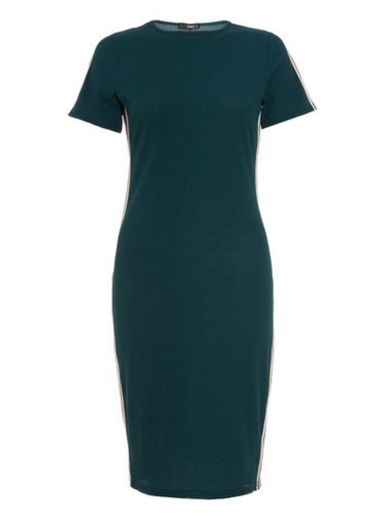 Womens *Quiz Bottle Green Striped Bodycon Dress- Green, Green
