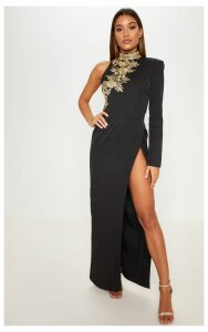 Black High Neck Asymmetric Embroidered Trim Maxi Dress, Black