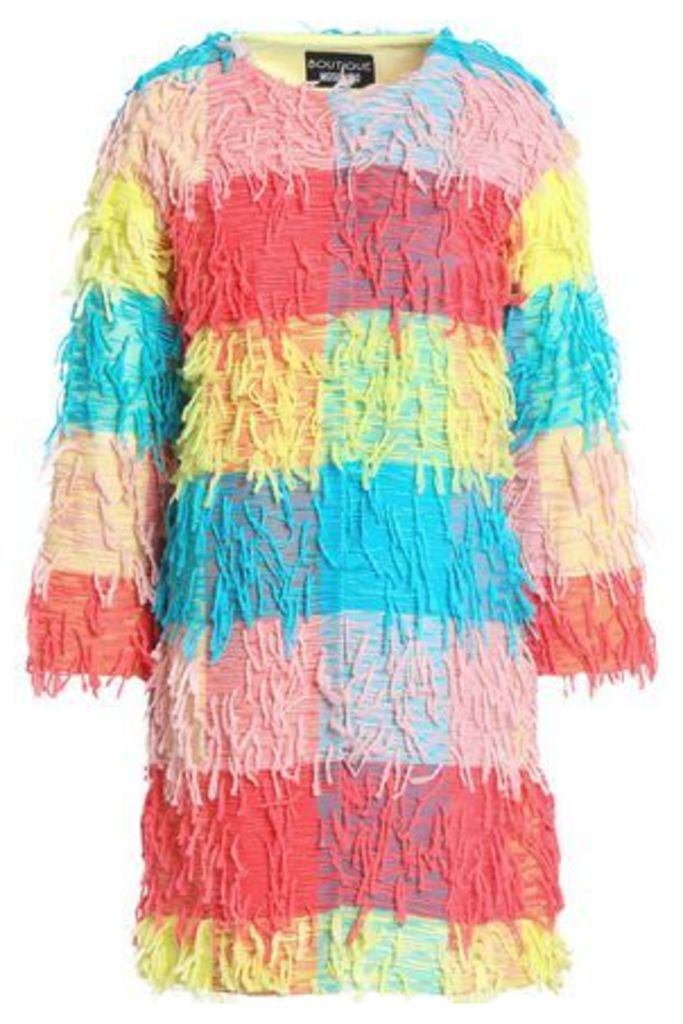 Boutique Moschino Woman Fringed Color-block Woven Jacket Multicolor Size 44