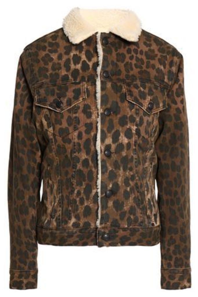 R13 Woman Faux Shearling-trimmed Leopard-print Denim Jacket Animal Print Size S