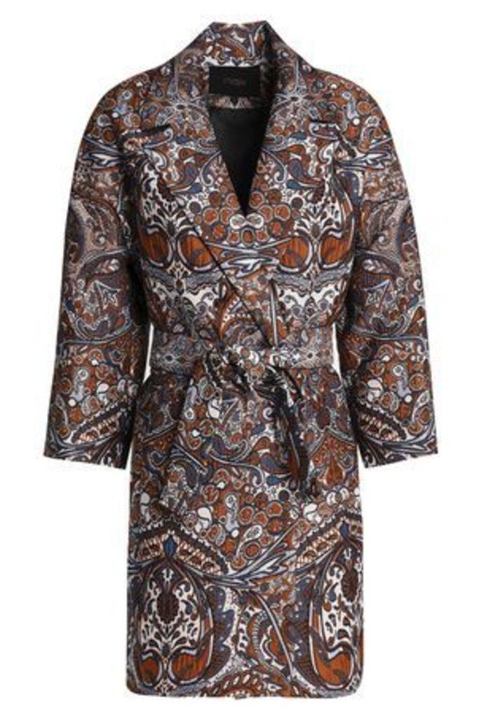 Maje Woman Belted Jacquard Jacket Brown Size 2