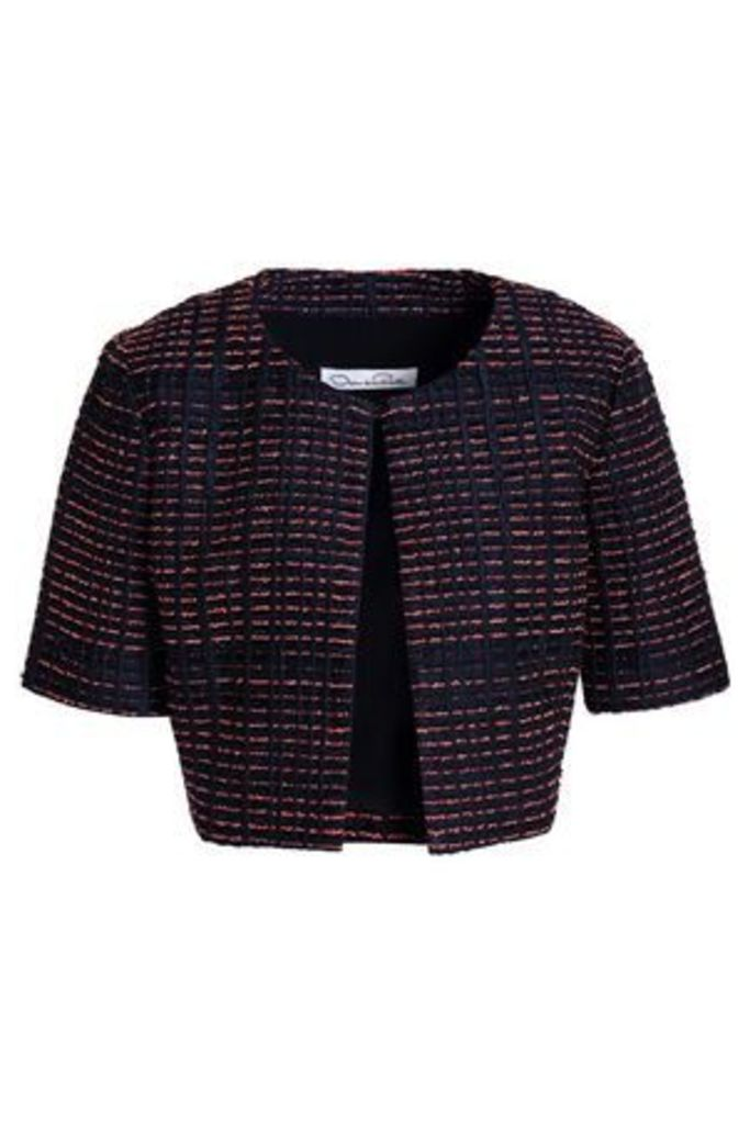 Oscar De La Renta Woman Cropped Silk-blend Jacquard Jacket Navy Size 6