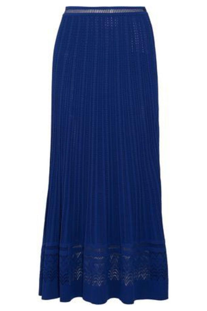 Oscar De La Renta Woman Pointelle-knit Maxi Skirt Royal Blue Size XS