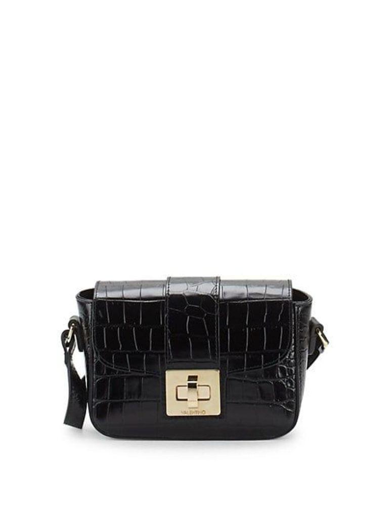 Yasmin Croc-Embossed Leather Shoulder Bag