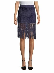 Fringed Crochet Pencil Skirt