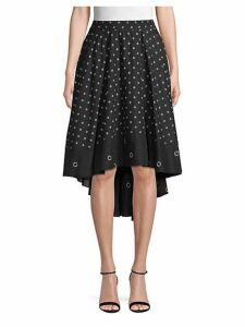 Grommet-Print High-Low Cotton Skirt