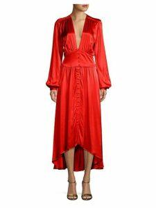 Bishop-Sleeve High-Low Midi Dress