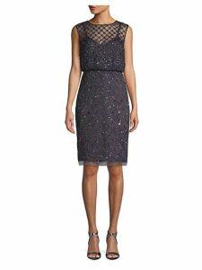Embellished Blouson Sheath Dress
