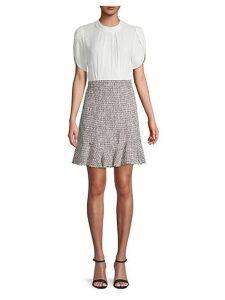 Petal-Sleeve Tweed Shift Dress