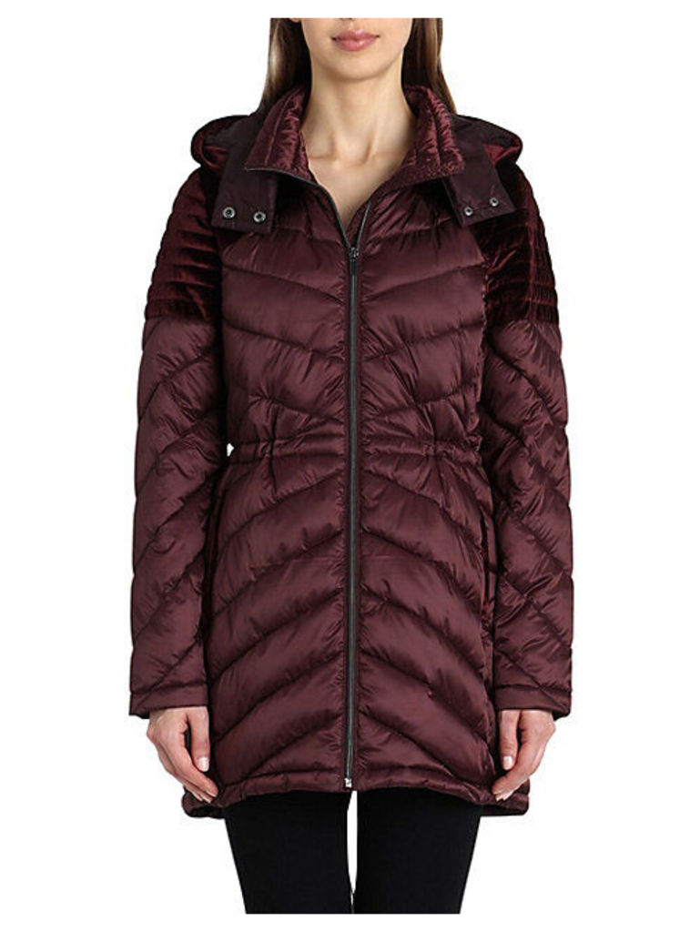 Velvet-Trim Quilted Puffer Jacket