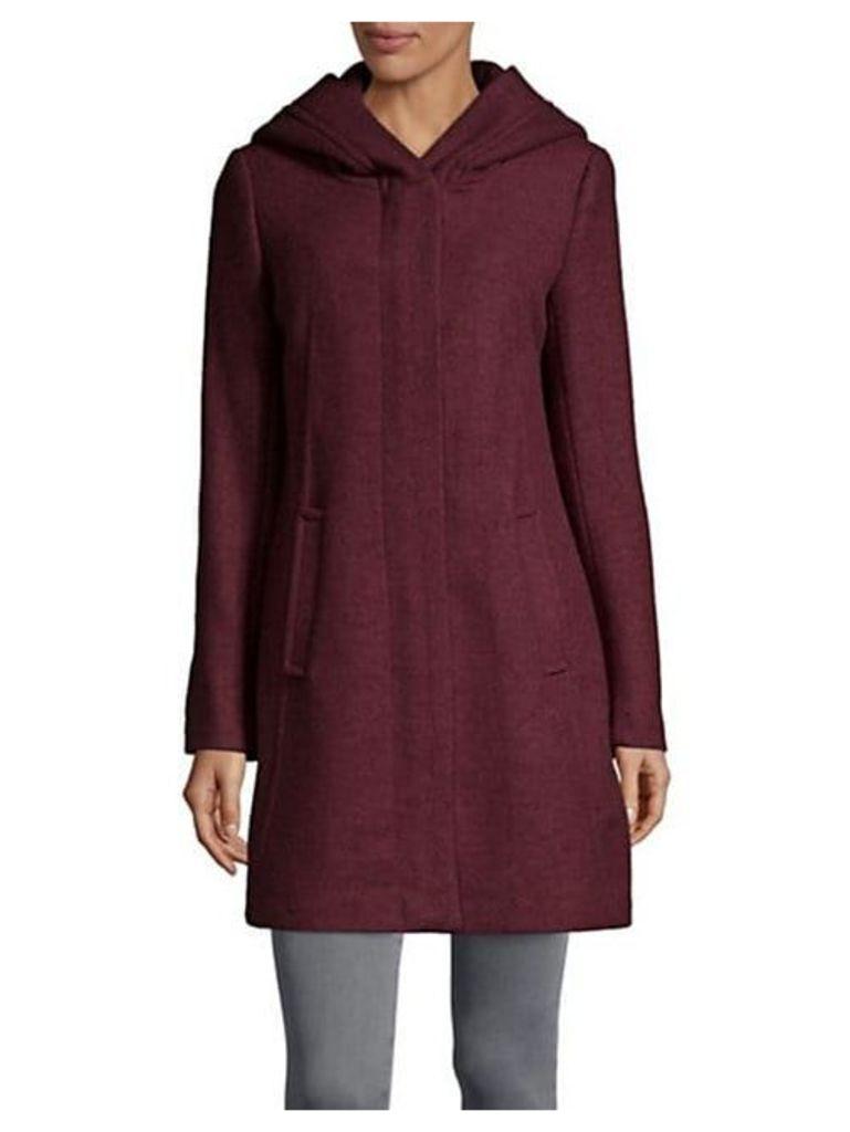 Textured Wool-Blend Hooded Coat