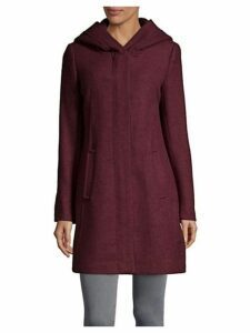 Textured Wool-Blend Hooded Coat