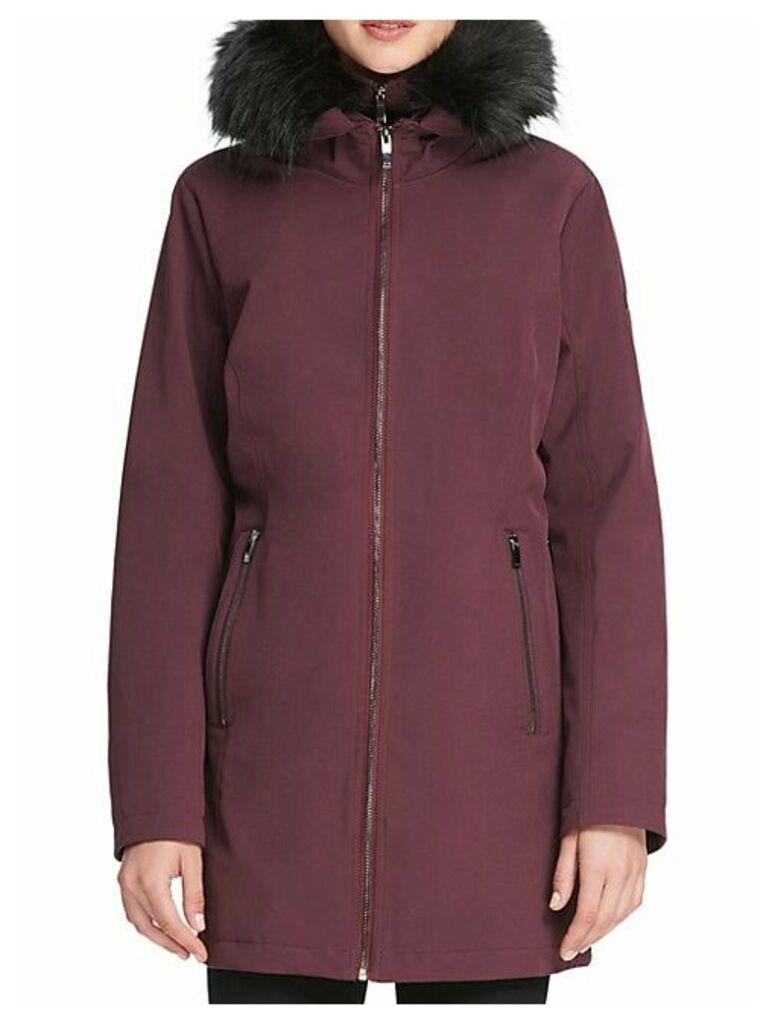 Faux Fur-Trimmed Hooded Coat