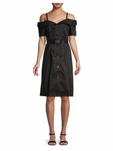 Cold-Shoulder Cotton Knee-Length Dress