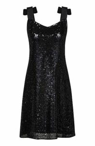 Regular-fit sequinned dress with bow-tie straps