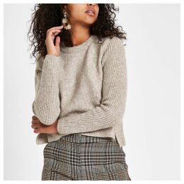 Womens Light Brown cropped crew neck jumper