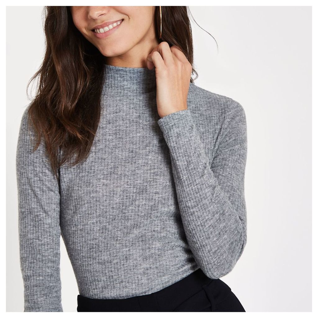 Womens Grey brushed rib high neck top