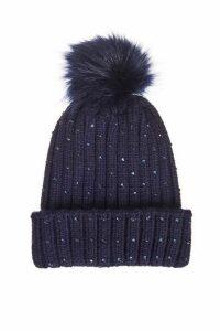 Quiz Navy Jewel Trim Pom Knit Hat