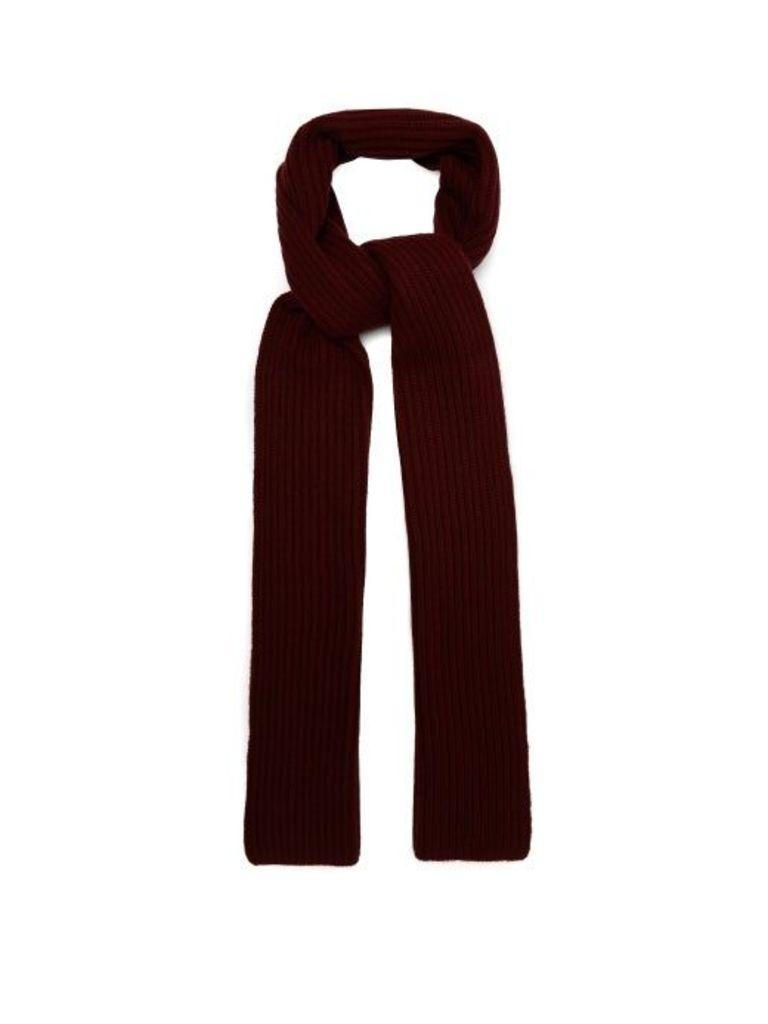 Gabriela Hearst - Ribbed Knit Cashmere Scarf - Womens - Burgundy