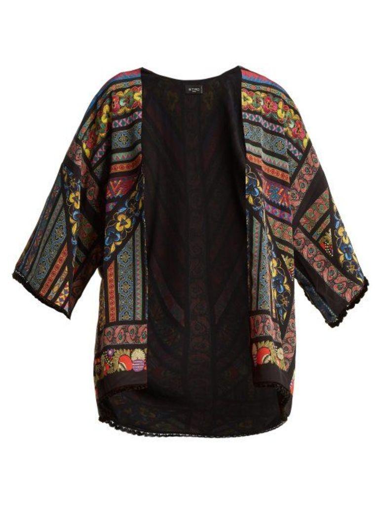 Etro - Multi Print Silk Jacket - Womens - Black