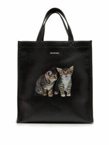 Balenciaga - Kitten Print Leather Tote - Womens - Black Multi