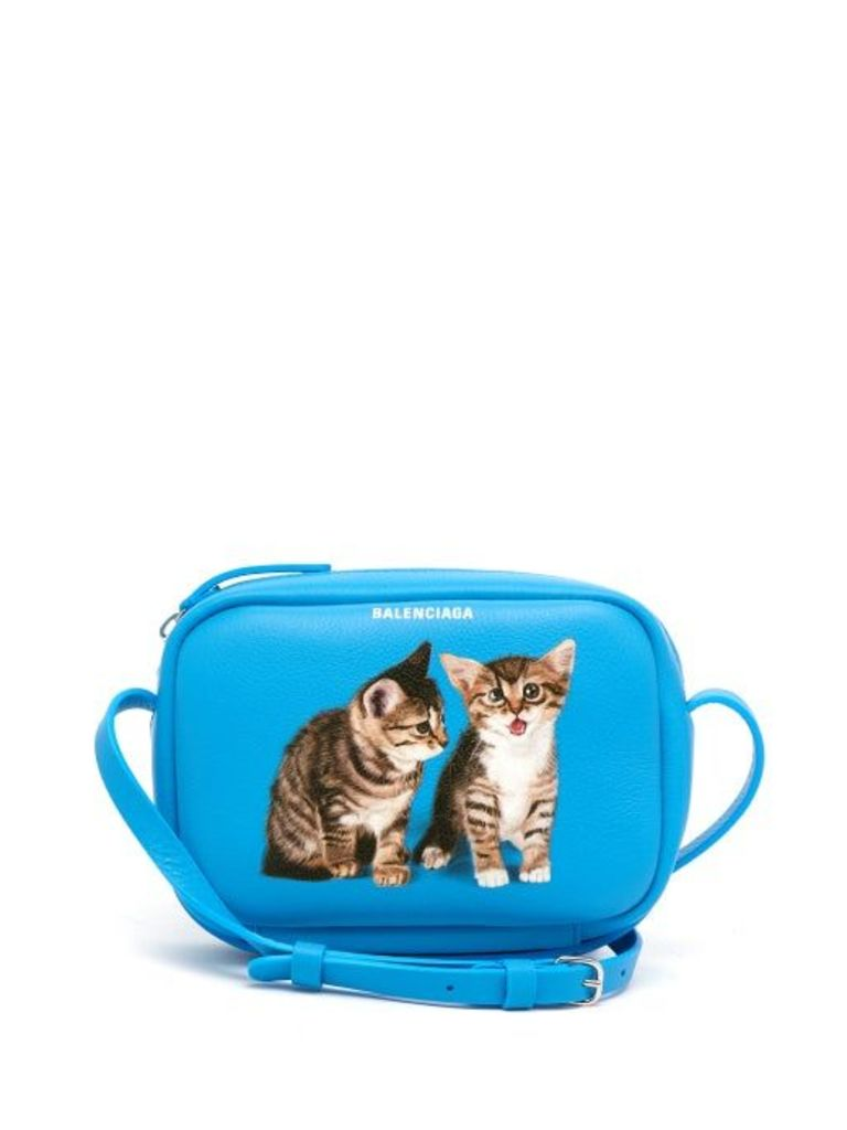 Balenciaga - Everyday Camera Xs Kitten Print Cross Body Bag - Womens - Blue Multi