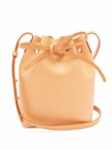 Mansur Gavriel - Pink Lined Mini Leather Bucket Bag - Womens - Tan