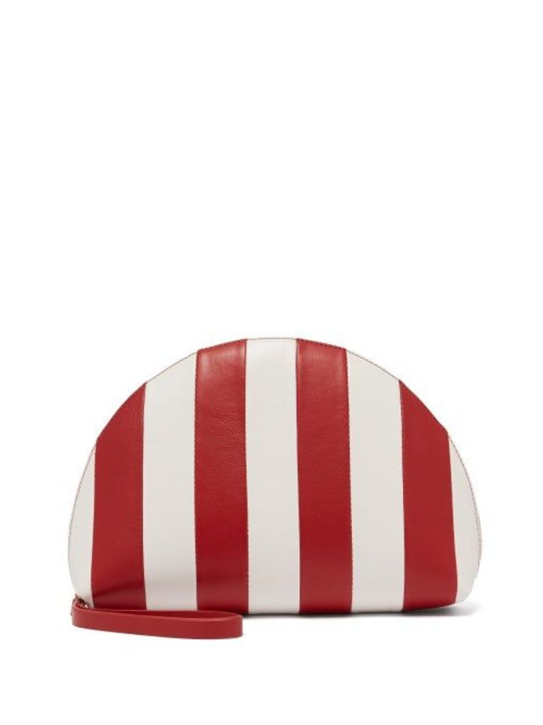 Mansur Gavriel - Mini Moon Striped Leather Clutch - Womens - Red White