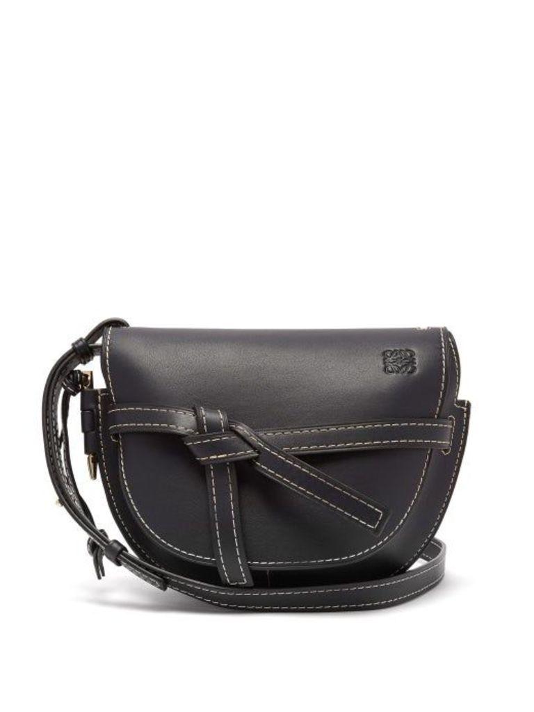 Loewe - Gate Small Leather Cross Body Bag - Womens - Navy