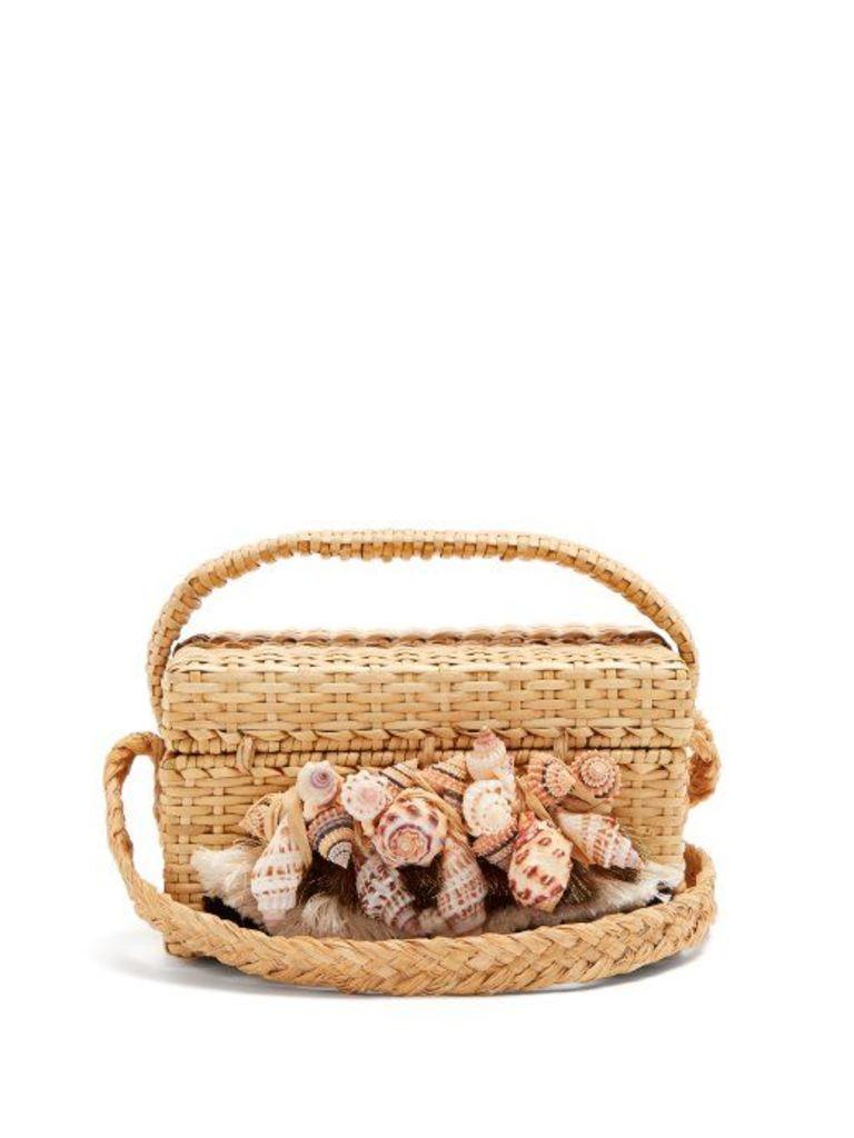 Sanayi 313 - Iris Seashell Embellished Straw Box Bag - Womens - Beige