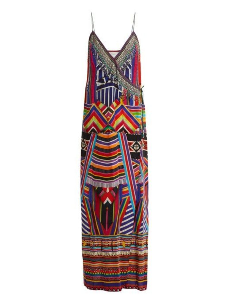 Camilla - Tsachila Blessing Print Silk Wrap Dress - Womens - Purple Multi