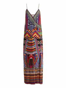Camilla - Tsachila Blessing Print Silk Wrap Dress - Womens - Purple Multi