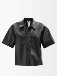 Gül Hürgel - Ruffled Sleeve Striped Linen Dress - Womens - Blue Stripe