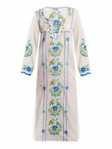 Juliet Dunn - Floral Embroidered Cotton Kaftan - Womens - White Multi