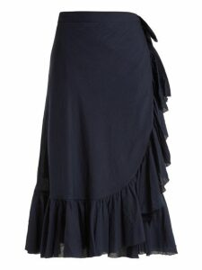 Loup Charmant - Ruffled Cotton Wrap Skirt - Womens - Navy